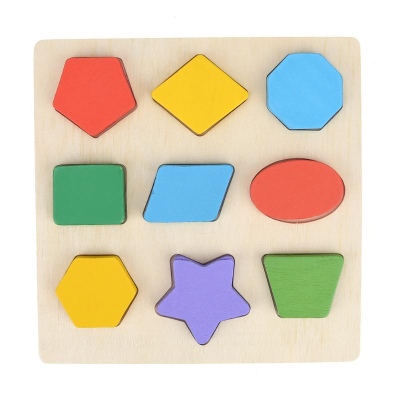Children Kids Wooden Learning Geometry Educational Toys Puzzle Montessori Early Learning Intelligence Development Toys