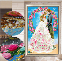 New 5D DIY Diamond Paintings Cross Stitch Lovers Diamond Embroidery European Diamonds Mosaic Rhinestones Wedding Decoration