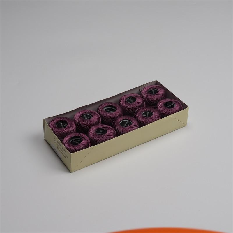 Размер 8 жемчужная хлопковая нить для вышивки крестиком 43 ярдов(5 грамм) на шарик Двойной Мерсеризованный длинный штапельный хлопок 10 шариков в цвет - Цвет: 727