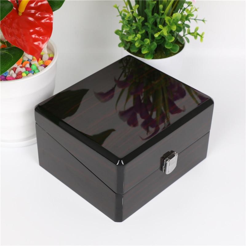 Piano peinture montre boîte de rangement avec serrure noir montre boîtes mode bijoux cadeau boîte avec oreiller montre affichage hommes boîte A23-in Boîtes à montres from Montres    3