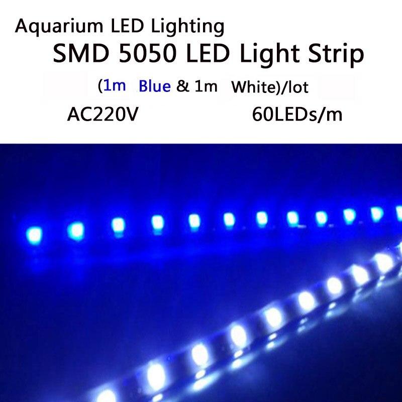 Аквариум Светодиодные ленты Освещение SMD5050 Светодиодные лампы для роста растений полосы для водных растений растут в аквариуме AC 220 В ...