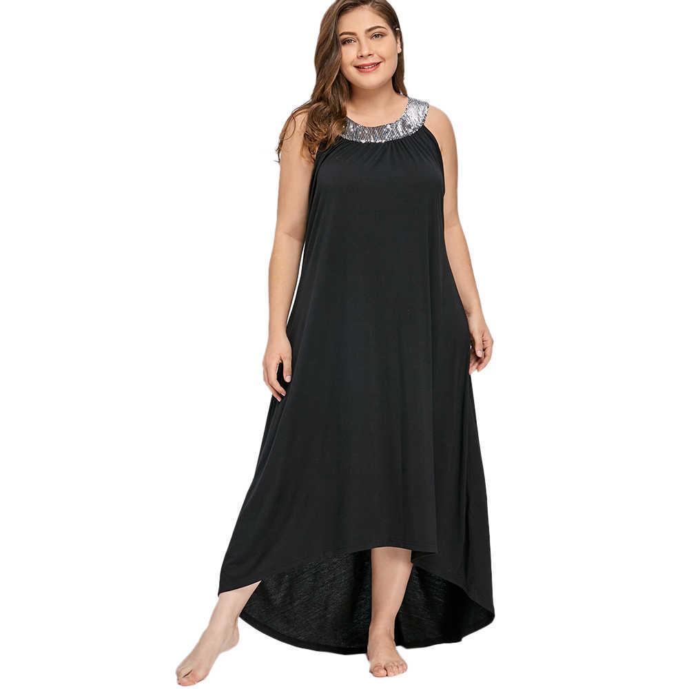 Gamiss Plus Size 5XL Sequins Collar Sleeveless Long Maxi Dress Women Summer  Sexy Black O- a7966d7c8691