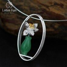 Colgante de jarrón sin collar para mujer, Lotus Fun, Aventurina Natural, hecho a mano, joyería fina, murros de loto