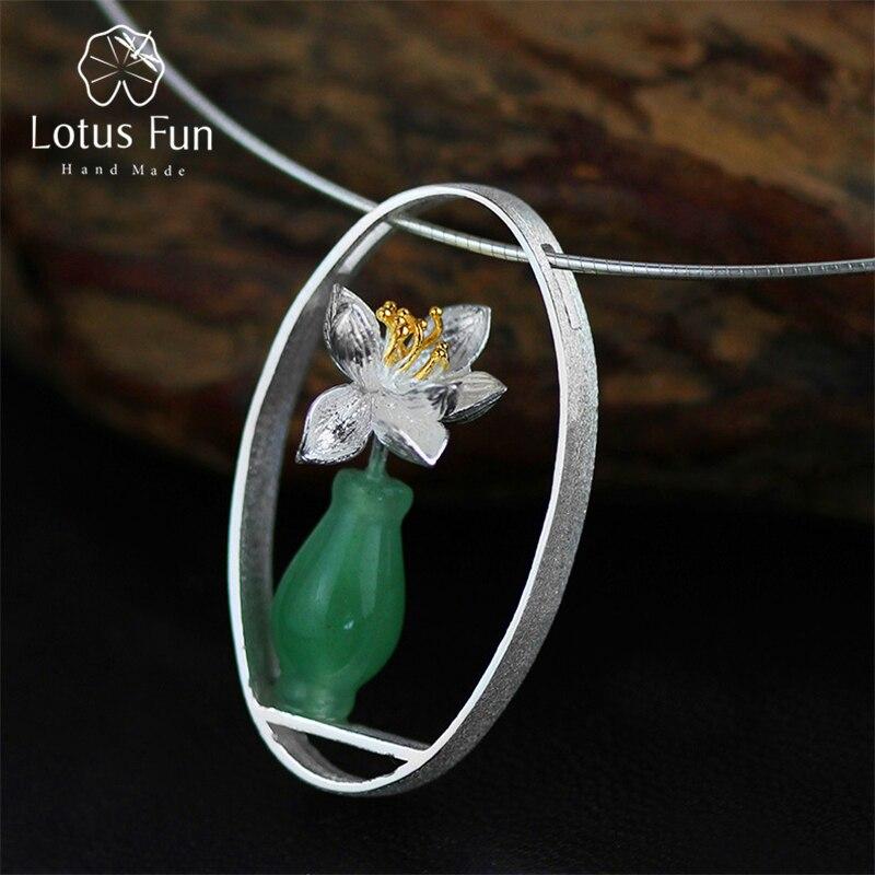 Lotus Plaisir Réel 925 Sterling Argent Naturel Aventurine Main bijoux fins Lotus Chuchotements Vase Pendentif sans collier pour femmes