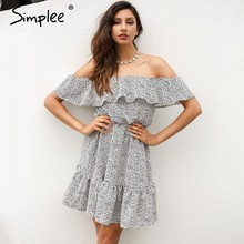 Simplee Sexy off shoulder ruffle dot summer dress Women casual beach chiffon short dress robe Elegant party mini dress vestidos(China)