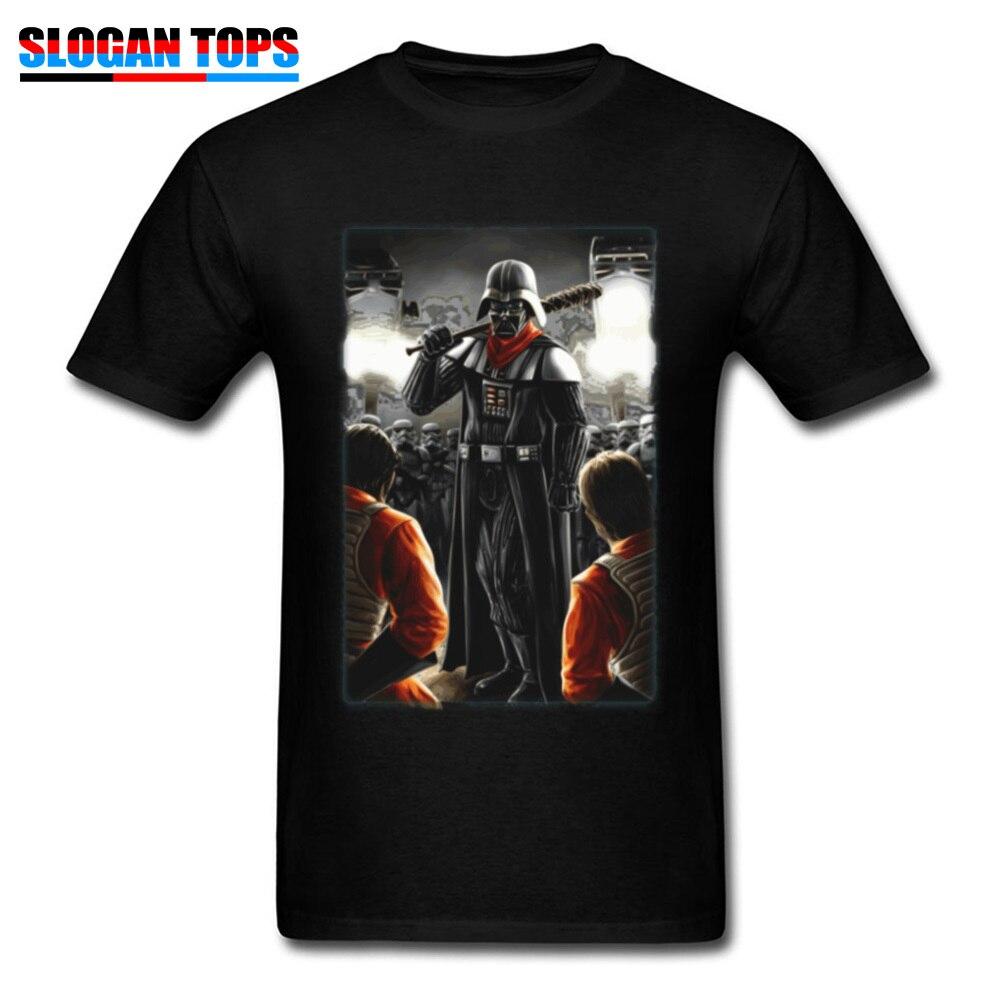 Funny 2019 T-shirt Male Star Wars Tshirt Fitness Darth Negan Tees For Men Walking Dead Darth Vader T Shirts Cotton Black Tops