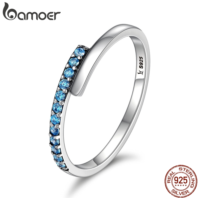 BAMOER Genuine 100% 925 Sterling Silver Geometric Melody Blue Sparking CZ Finger Rings for Women Sterling Silver Jewelry SCR099 blue handmade geometric pattern embroidery finger rings