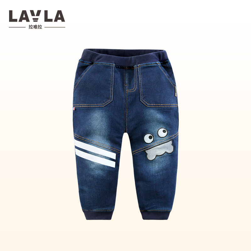 LAVLA New 2017 Children Clothing Boys Winter Pants With Fleece Jeans Warm Long Trousers For Boys Thick Pants Kids Clothes 1-5 Y купить