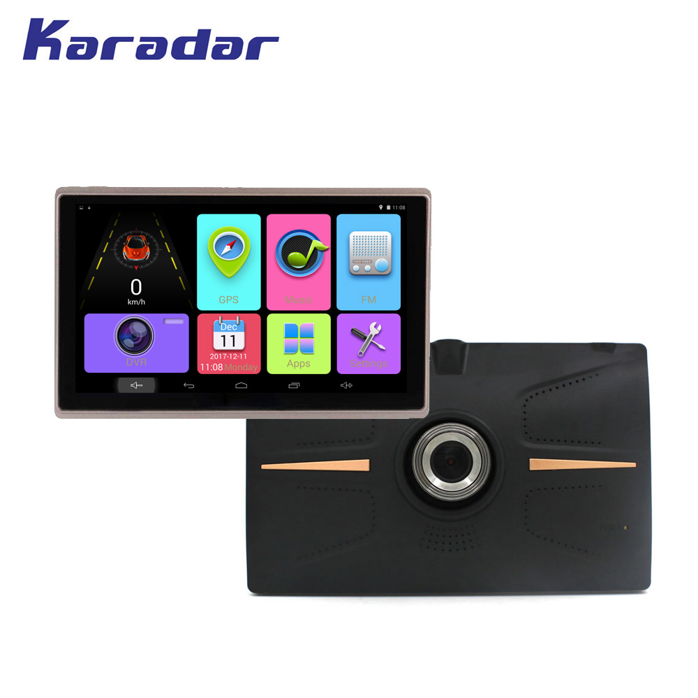 KARADAR 7 inch IPS screen 1024*600 Car GPS navigation Android 4.4 with front DVR 720P with bluetooth wifi FM G sensor AV-IN hot 7 inch android 4 0 quad core car gps navigation with dvr recorder 1080p 8g media player fm transmitter support wifi igo map