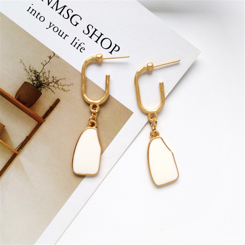 Simple geometric earrings ladies fashion accessoriestud earrings with flower earrings Statement earring for Girls gift for woman in Drop Earrings from Jewelry Accessories
