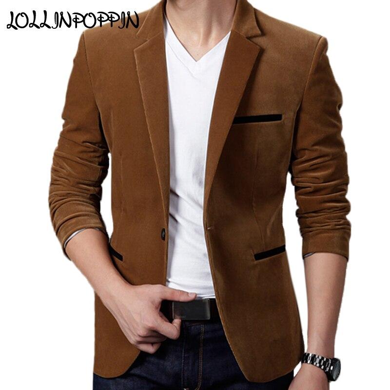 Mens Corduroy Blazers Notched Lapel Single Button Casual Blazers Velvet Men Suit Jacket Smart Casual Khaki / Wine Red / Black