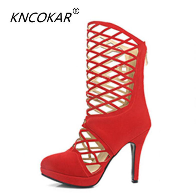 KNCOKAR 2018 European and American spires and ultra high heels waterproof platform with high help of