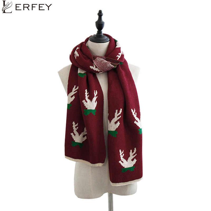 LERFEY las mujeres caliente de punto bufanda de Navidad alce impresión suave de otoño e invierno de Bufandas chales Pashmina pañuelo Bufandas