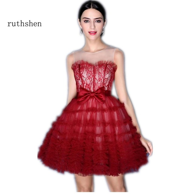 ruthshen Burgundy Short Prom Dresses 2018 Illusion Neck Lace Tulle Ball Gown  Mini Sexy Formal Cocktail Party Dress Gowns cd324f953fc6