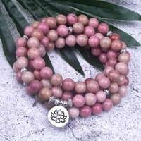 108 mala naturel Rhodochrosite pierre perlée bouddha OM Lotus bracelet à breloques pour les femmes chanceux méditation Yoga bijoux