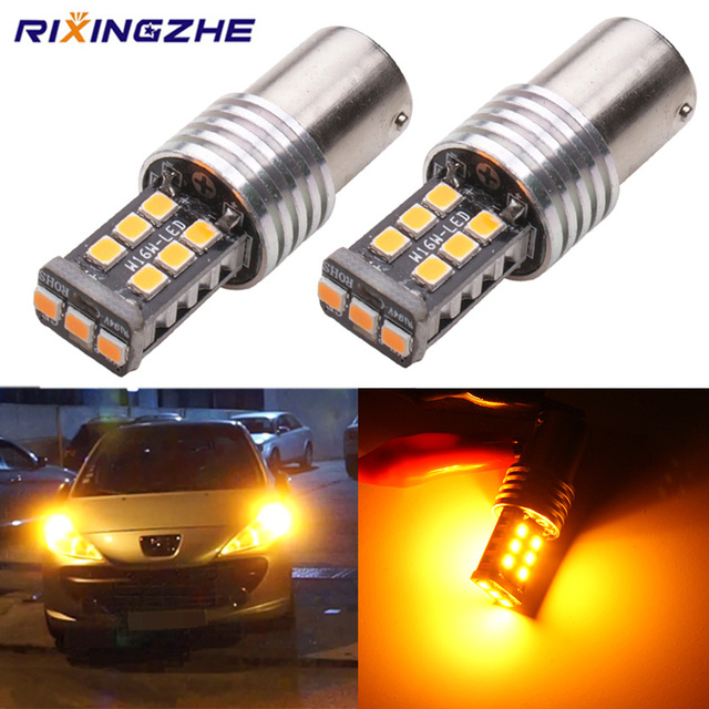 2pcs BAU15S py21w BA15S 1156 S25 LED 2835 15Smd Bulbs For Car Turn Signal Lights Brake lamp Amber canbus DC 12V No Hyper Flash