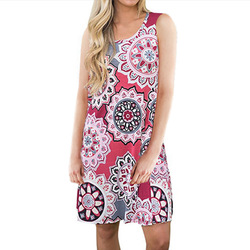 Women Print sleeveless pullover dress dresses clothing 2019 indie Folk fashion Dress above knee mini loose fit colorful dresses 5