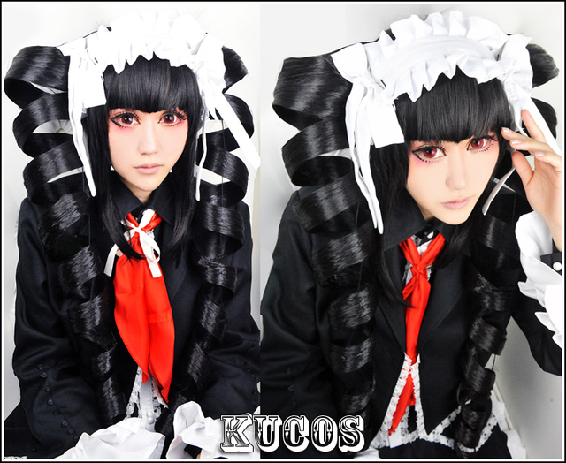 Danganronpa Dangan Ronpa Ludenbeck Celestia Ludenberg Cosplay Wig Long Big Curly Ponytials Hairstyle Black Hair