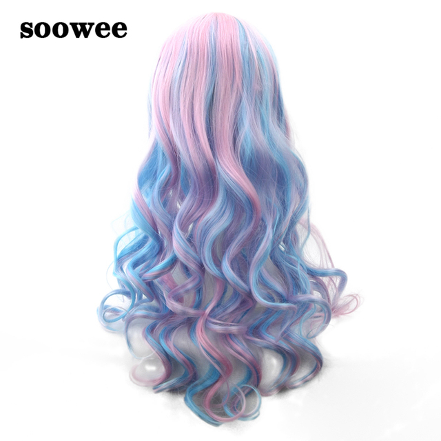 Soowee 70cm Long Wavy Pink Blue Rainbow Hair Color Wigs-female Synthetic Hair  Women s Wig Party False Hair Cosplay Wigs 2933255fd