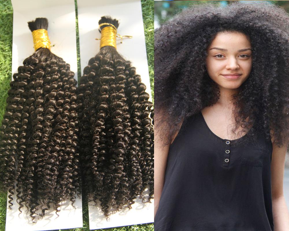 Excellent Online Shop Afro Kinky Bulk Hair 2Pcs Natural Color Human Braiding Short Hairstyles For Black Women Fulllsitofus