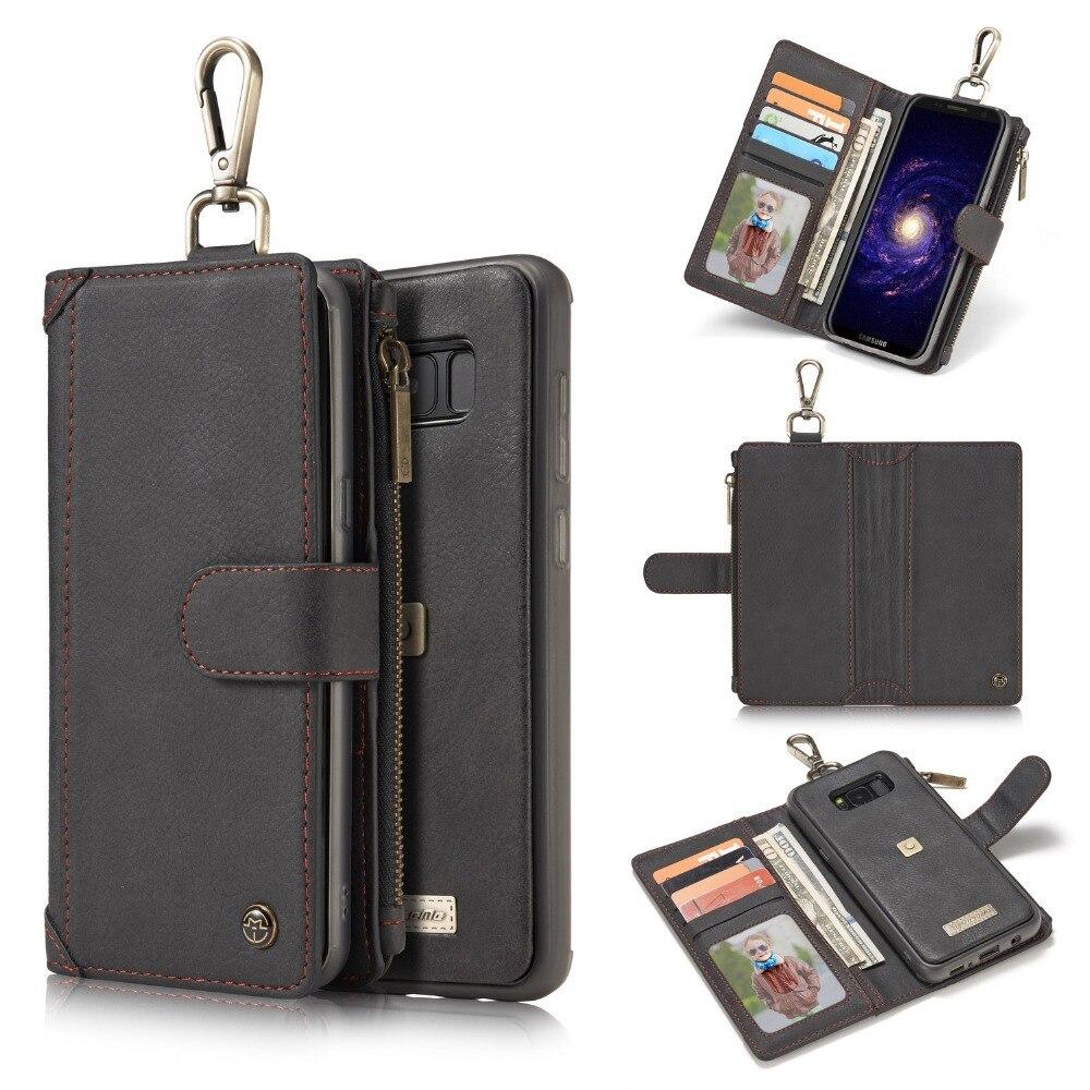 bilder für CaseMe Reißverschluss Multifunktions Brieftasche Ledertasche für Samsung Galaxy S8 Plus 2 in 1 Magnetic Ledertasche für S8 + tasche geldbörse