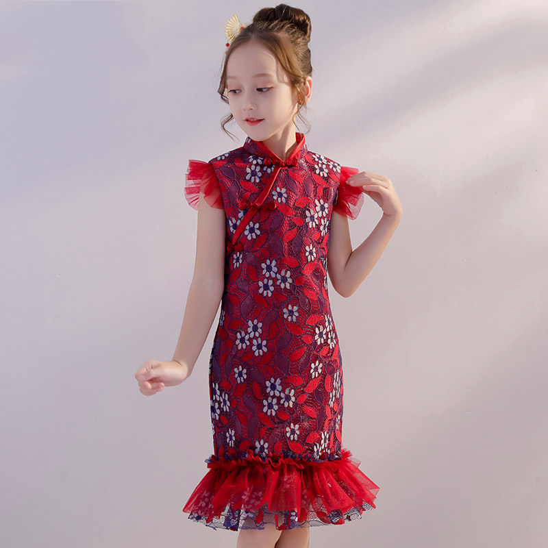 Mermaid Kids Pageant Dress Birthday Party Gowns Chinese Style Flower Girl Dresses for Wedding Stand Collar Girls Formal Dress