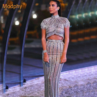 New striped sequined ladies suit sexy short sleeved beaded tassel top + high waist skirt 2 piece set runway party Bodycon dress