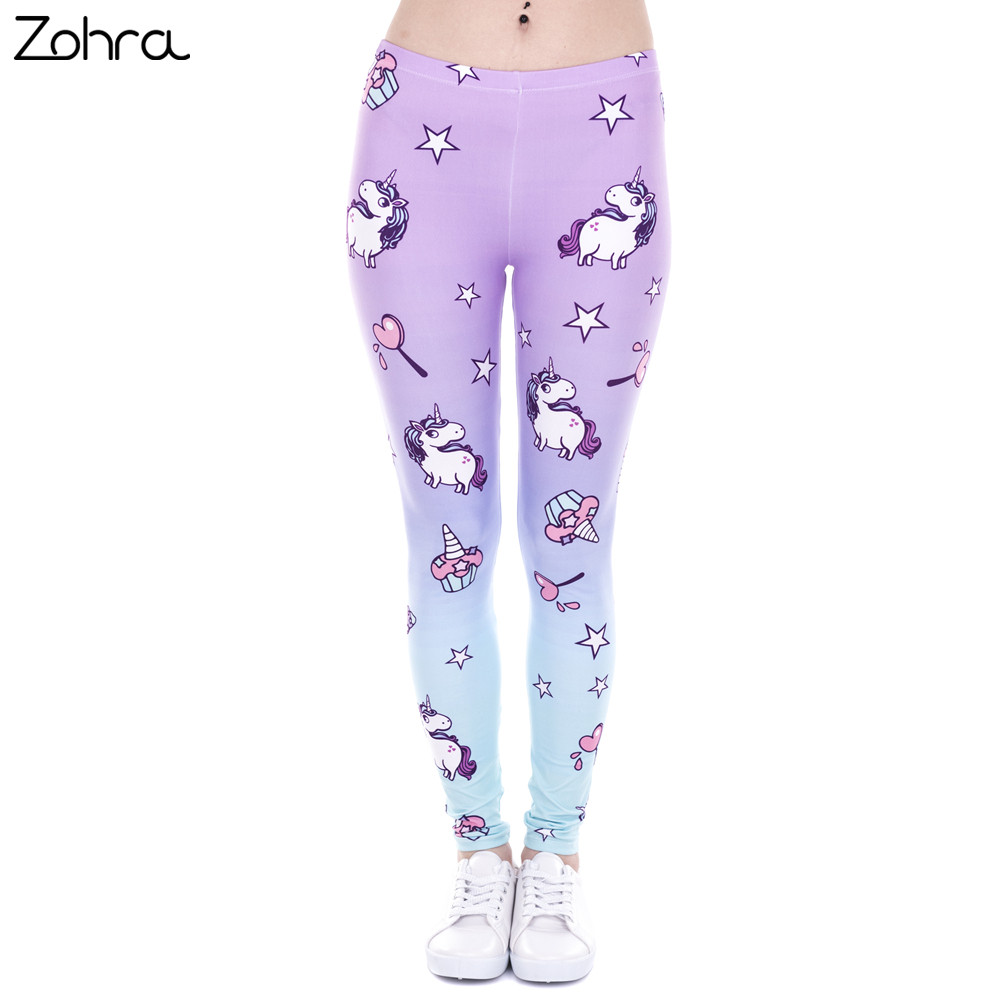 Zohra Brand New Fashion Women   Leggings   Unicorn And Sweets Printing leggins Fitness   legging   Sexy High waist Woman pants