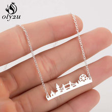 Oly2u Stainless Steel Pendants Necklaces for Women Silver Chain Chokers Necklaces London Bridge Pendant Collier Femme Jewelry(China)