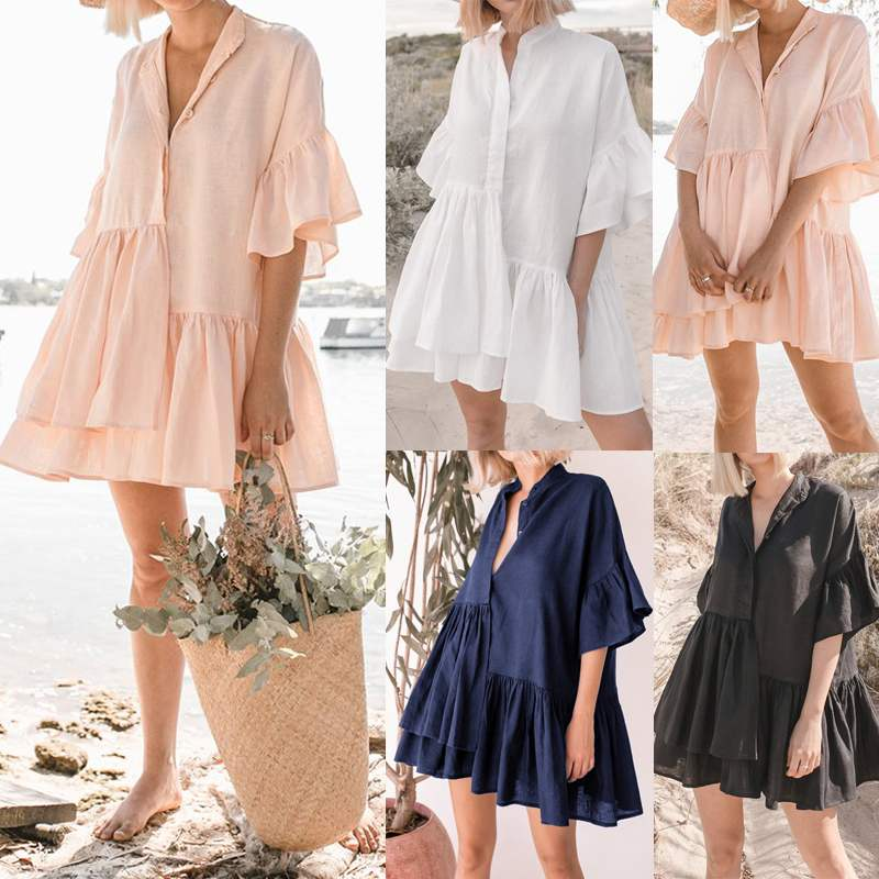 Celmia Women Ruffle Shirt <font><b>Dress</b></font> <font><b>Plus</b></font> <font><b>Size</b></font> <font><b>Sexy</b></font> V-neck Buttons Casual Loose Mini <font><b>Dress</b></font> 2020 Summer Beach Female Pleated Vestidos image