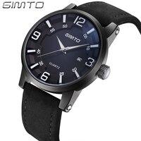 GIMTO Sport Men Watches 2017 Luxury Brand Genuine Leather Watch Strap Clock Men Creative Quartz Waterproof