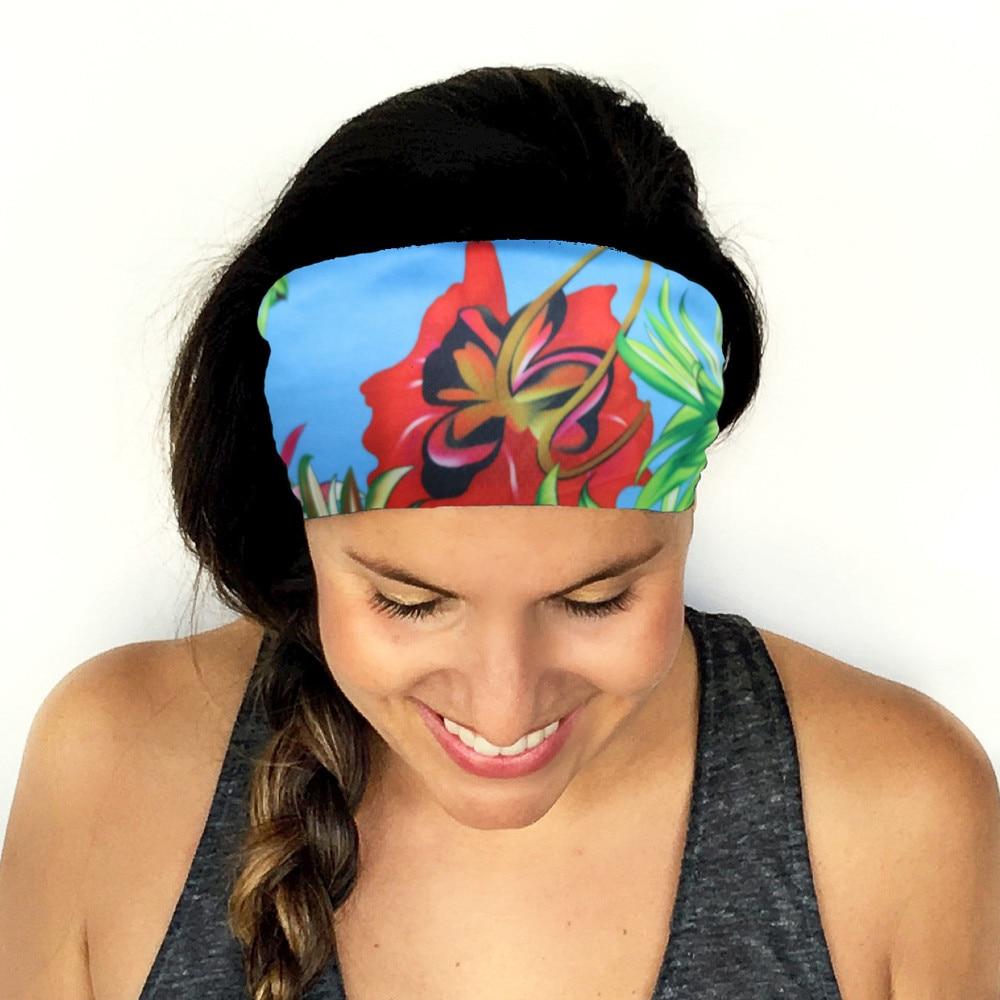 ChamsGend Unisex Green Ladies Men Sports Yoga Print Sweatband Gym Stretch Headband Hair Band ring Elastic Hair Bands 180130