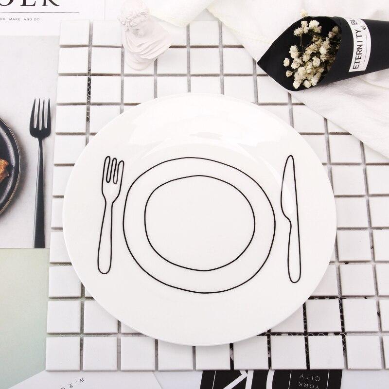 8 Inch Japanese Style Dishes Bone China Ceramic Flat Dinner Plates Letter Pattern Porcelain Tableware Salad Breakfast Plates fonksiyonlu rende
