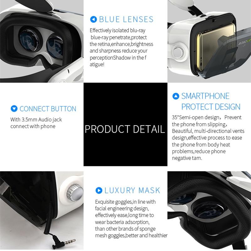 Bobovr original 3d realidade virtual óculos z4, 3d couro capacete de papelão vr fone de ouvido estéreo bobo vr para 4-6 'celular móvel