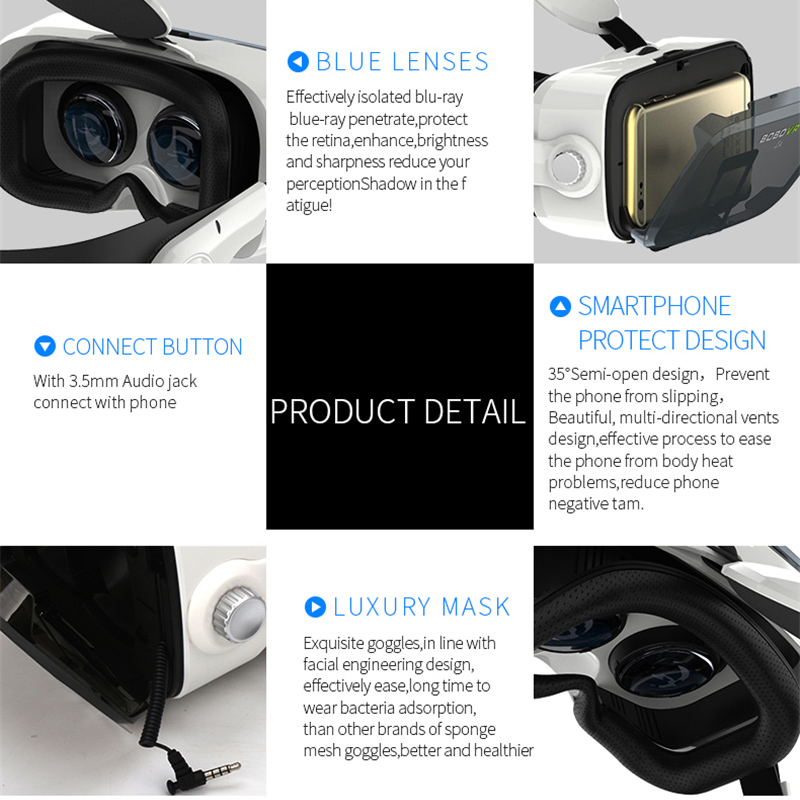Original BOBOVR Z4 Leather 3D Cardboard Helmet Virtual Reality VR Glasses Headset Stereo Box BOBO VR for 4-6 Mobile Phone