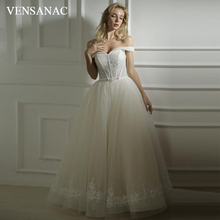 VENSANAC 2018 Sweetheart Lace Appliques Ball Gown Wedding Dresses Off The Shoulder Crystal Backless Bridal Gowns цена и фото