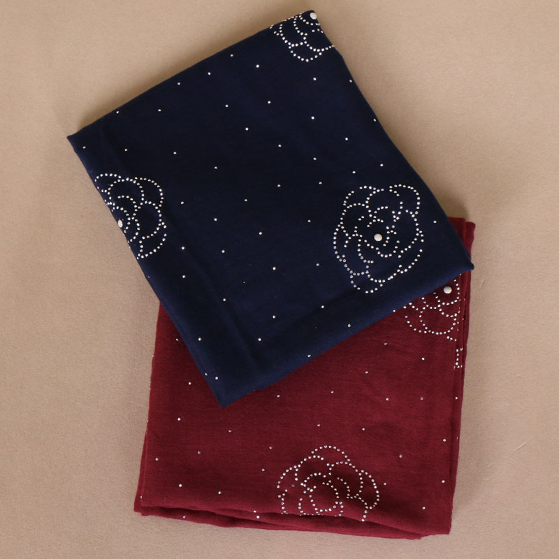 Women's plain flower diamond hijab   scarf   cotton   scarves   stone glitter   scarves   headband   wrap   muslim   scarves   shawls 180*75cm