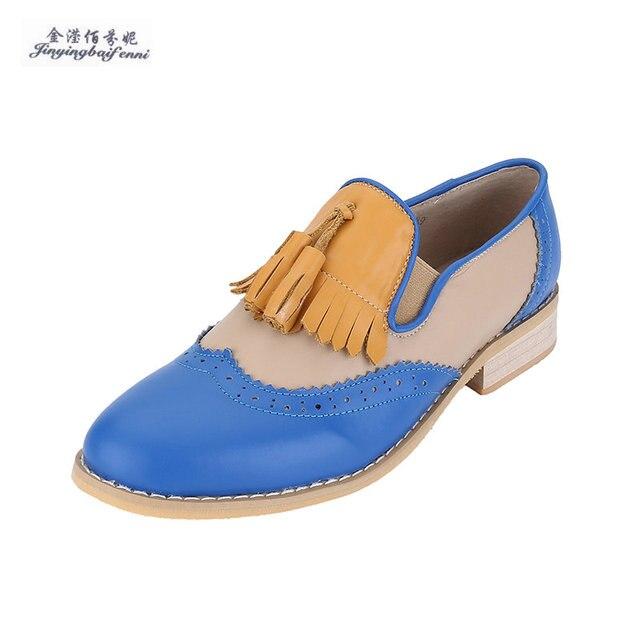 Britischen Stil Oxford Schuhe für Frauen Echtes leder Brogues Frauen mit  Quasten Plattform Fringe Wohnungen Schuhe 7a29b60924