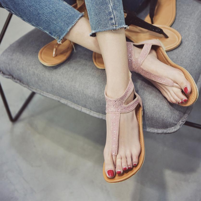 29c8bfe58 SAGACE Shoes Sandals Diamond Zipper Gladiator Low Flat Flip Flops Beach  Sandals Bohemia Shoes Casual sandals summer 2018MA16