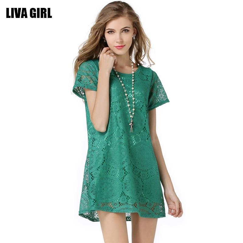 2017 Soft Fox Značka Ženy Krajkové Sexy šaty pro letní O-Neck Solid Krátký rukáv Krajkové šaty A-Line Šaty 5 barev Doprava zdarma