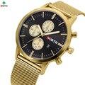 2017 Mens Relógios Top marca de Luxo Glod Malha de Aço Inoxidável relógio de Pulso Relógio Masculino Negócio Relógio de Quartzo Homens Relogio masculino
