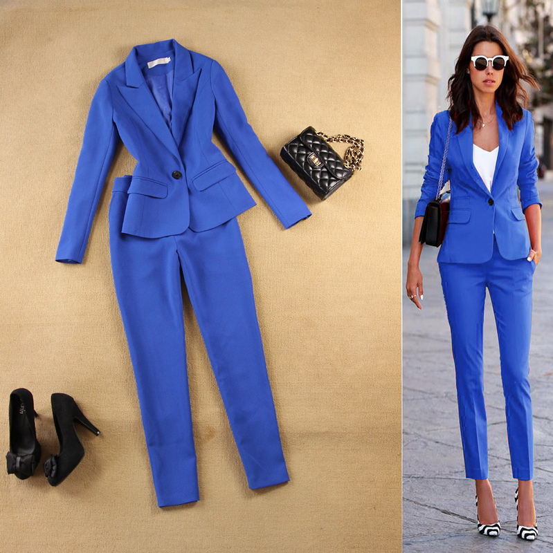 New Blazers Suit Solid Simple Women Pants Suits 2 Two Piece Sets Long Slim Jacket & Pants Female High Quality Lady Suit