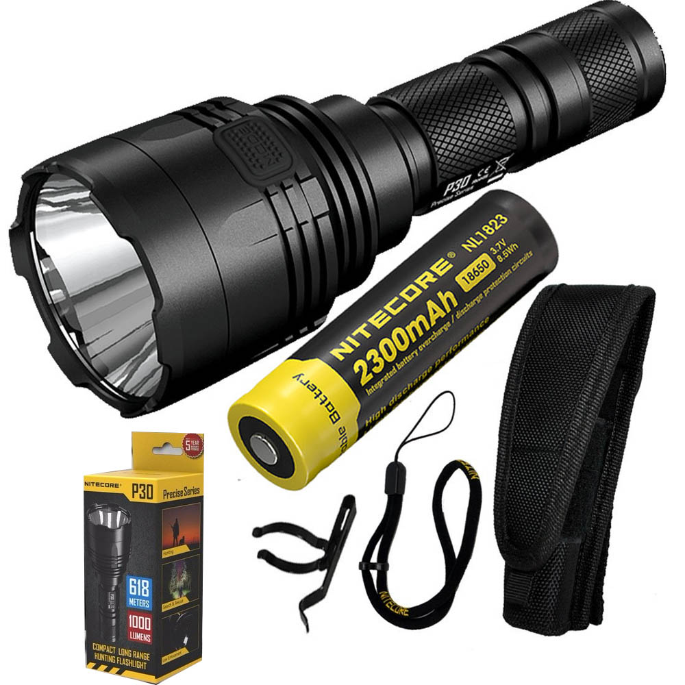 NITECORE P30 Flashlight  CREE XP-L HI V3 LED max.1000LM beam distance 618 meter LED outdoor torch search light + 2300mAh battery