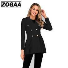 1PC Autumn Spring Women Double Breasted Trench Coat Khaki Vintage Casual Office Lady Business Long Outwear ZOGAA