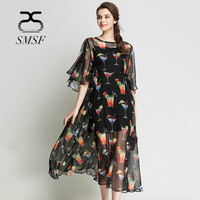 SMSF New 2018 Spring Chiffon Floral Print Women Dress Sexy Female Bat Sleeve Double Ruffles Elegant Casual Short Party Dresses