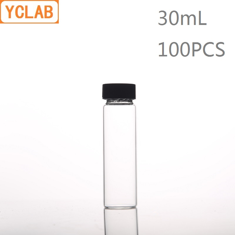 YCLAB 100PCS 30mL Glass Sample Bottle Serum Bottle Transparent Screw With Plastic Cap And PE Pad Laboratory Chemistry Equipment