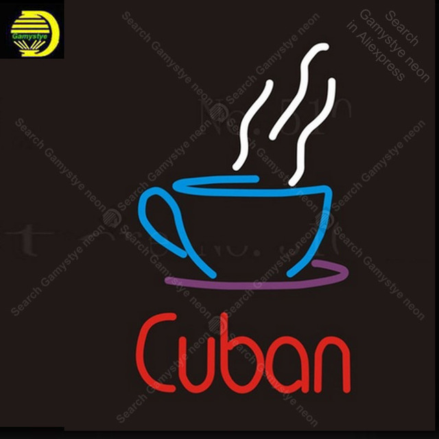NEON Sign Cuban Real GLASS Tube Cat feces coffee Drink Bar PUB Restaurant Signboard Display Store Shop Light Custom Signs 17*14