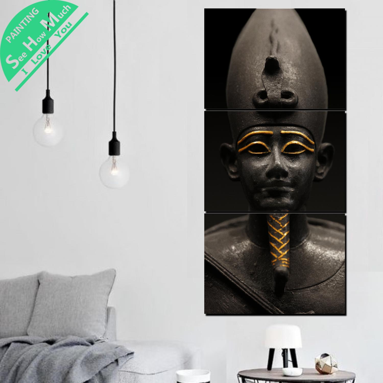 3 Piece A Ruler of Ancient Egypt Canvas Art Decorative Pictures Wall Poster Modern Wall Pictures Posters and Prints Artwork in Painting Calligraphy from Home Garden