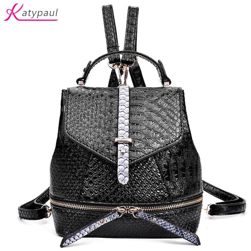 Brand High Quality Aligator Leather Backpacks For Teenage Girls Women s Backpack 2017 Hot Grid Female
