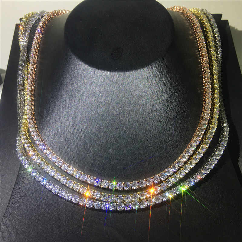 Choucong 3 cores amantes tênis colar 4mm aaaaa cz prata cor festa de casamento colar para mulheres moda masculina hiphop jóias